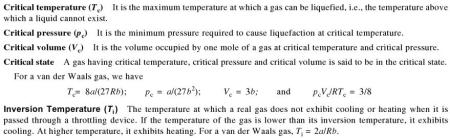 31a Critical temperature pressure inversion temperature