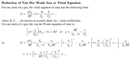 31f Reduction of Van Der waals Gas eqn to virial equation