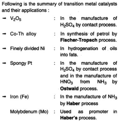 34a Transition Elements used in catalysts