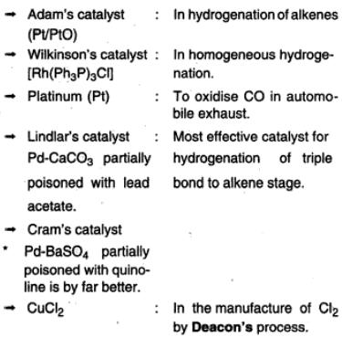 34c Transition Elements used in catalysts