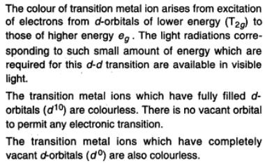 37a The colour of transition metal ions reason