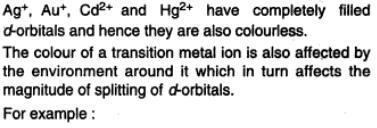 38b Colour of metal ions d block