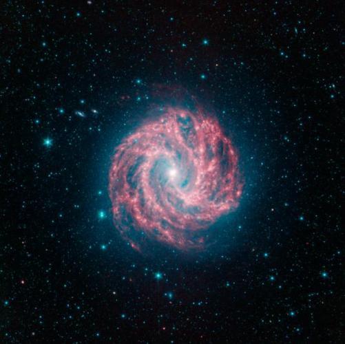 3d Pink green spiral galaxy