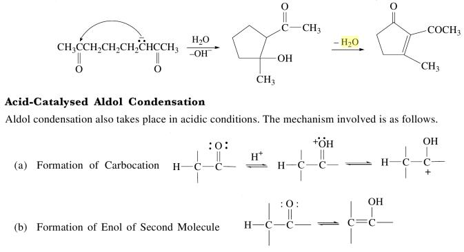 3o Acid catalysed Aldol condensation