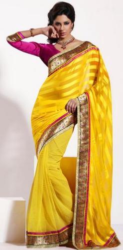 4 Beautiful girl in yellow Sari