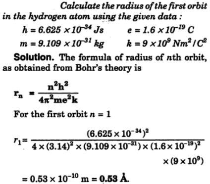 4 Calculate the radius of the 1st Bohr orbit