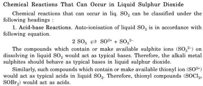 4 Chemical reactions that can occur in Liquid SO2