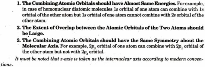 4 Conditions for Combining of Atomic Orbitals