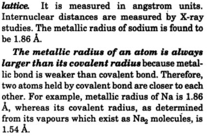 4 Define metallic radius how is it determined
