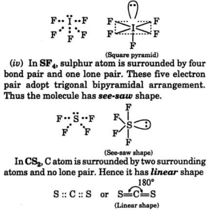 4 electron dot formula VSEPR theory
