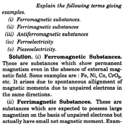 4 Explain Ferromagnetism, ferrimagnetism