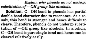 4 Explain why phenols do not undergo substitution of OH group like alcohols