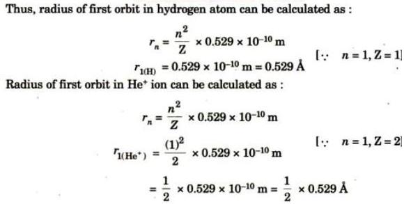 4 Radius of Hydrogen electron and other 1 electron species