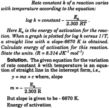 4 Rate constant k of a reaction varies with temp