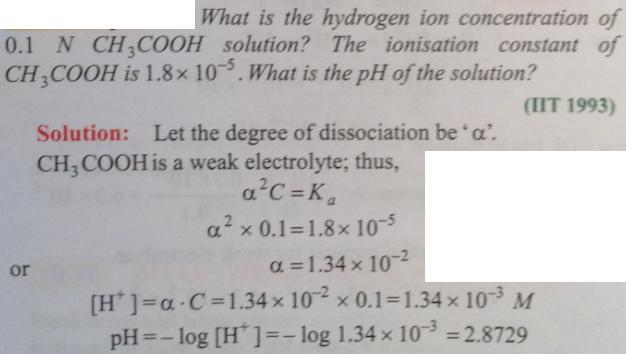 45 Ionic equilibrium dissociation constant