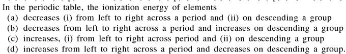4a In periodic table the ionization energy of elements
