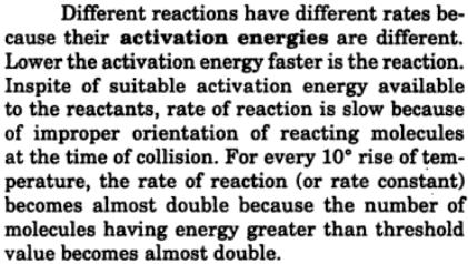 5 different reaction have different activation energy