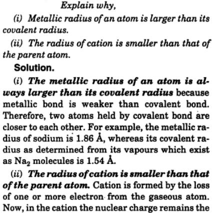 5 explain why metallic radius of an atom is larger