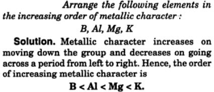 5 increasing order of metallic character