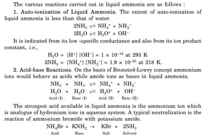 5 Reactions in Liquid Ammonia