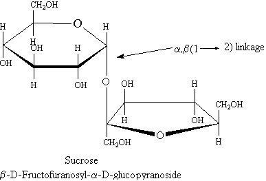 5 sucrose has alpha beta glycosidic linkages