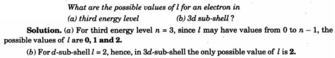5 values of l for various quantum numbers