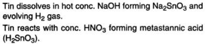 50a Tin dissolves in hot conc NaOH