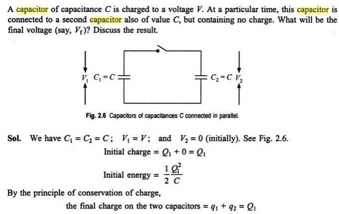 51c1 Capacitors connected final charge