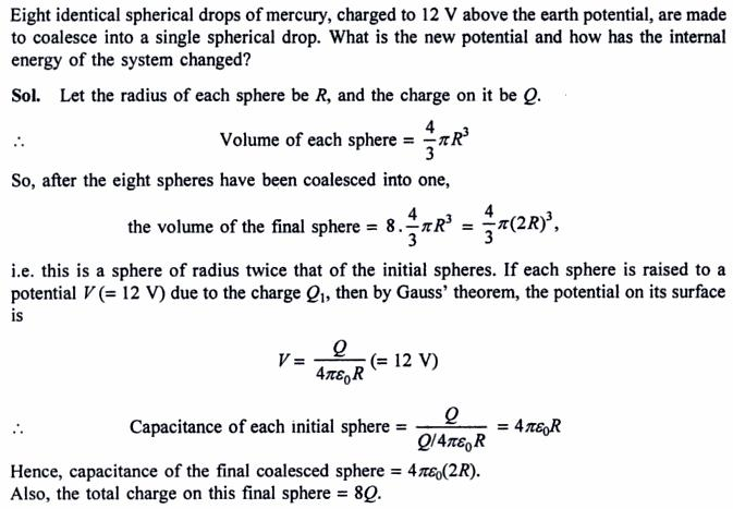 53a identical spherical drops join with charge q
