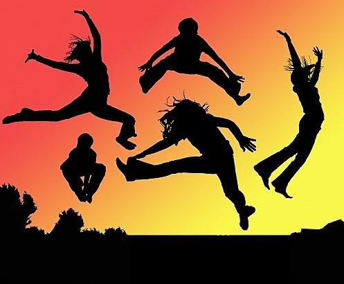 5a Various jumping with red yellow background