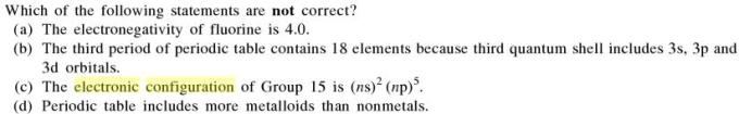 5a Which of the multiple statements are not correct