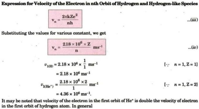 6 Expression of velocity of electron in nth orbit of Hydrogen