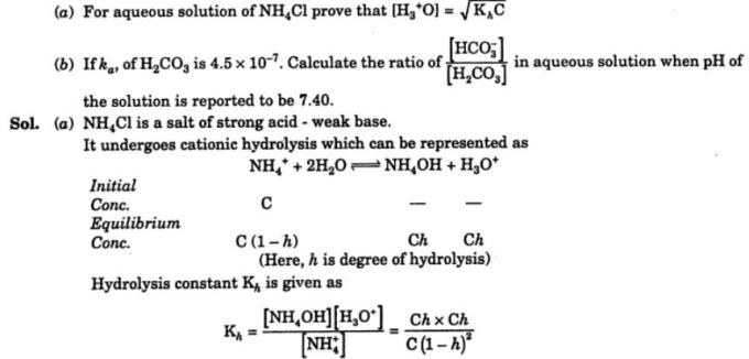 6 For aqueous solution of NH4Cl prove