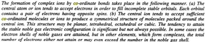 6 formation of complex ions by coordinate bonds