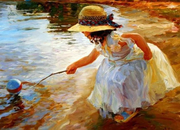6 girl trying to pull the ball Vladimir-Volegov