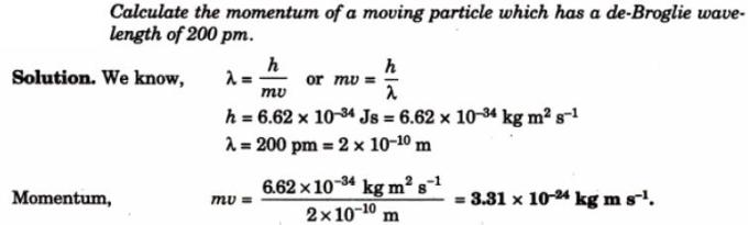 6 momentum of particle de-Broglie wavelength 200pm