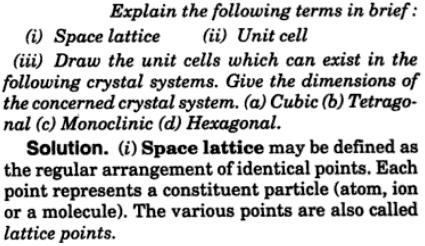 6 space lattice unit cell monoclinic