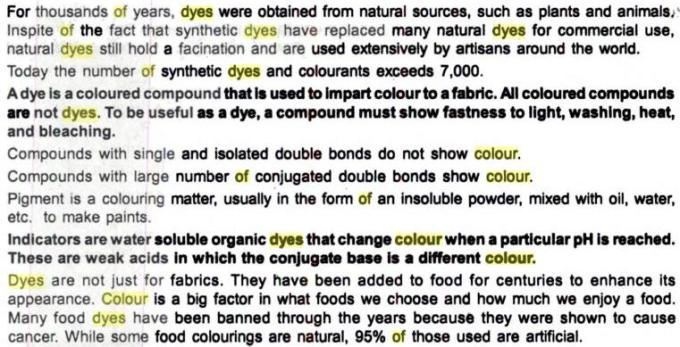 63i Dyes Notes points to remember
