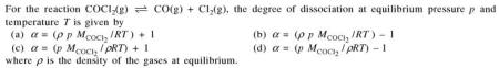 6a For the reaction COCl2 the degree of dissociation