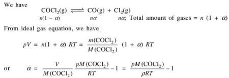 6b For the reaction COCl2 the degree of dissociation