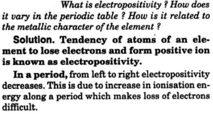 7 electropositivity how does it vary in periodic table