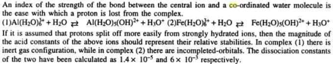 7 Index of the strength of the bond between the central ion