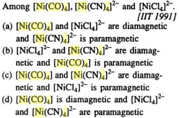 7 NiCl4 2- is paramagnetic