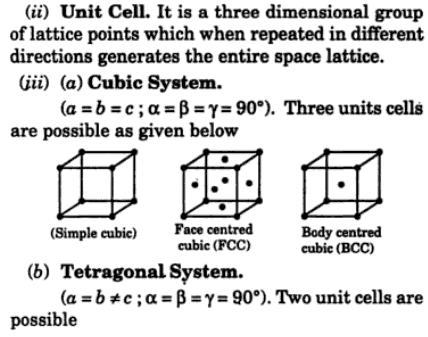 7 space lattice unit cell monoclinic
