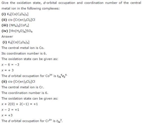 9.23 Co-ordination compounds std 12 CBSE textbook