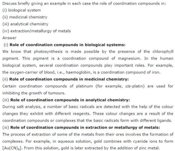 9.27 Co-ordination compounds std 12 CBSE textbook