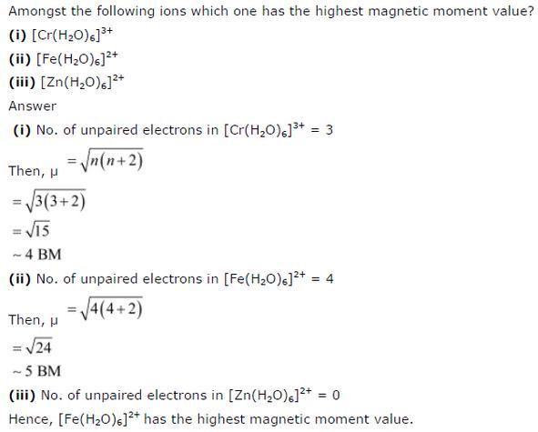 9.29 Co-ordination compounds std 12 CBSE textbook