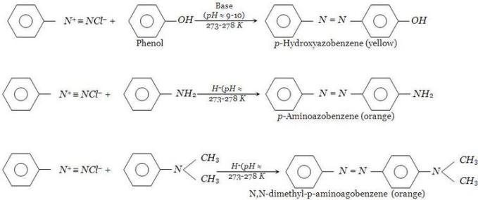 9 Benzenediazoniumchloride reactions