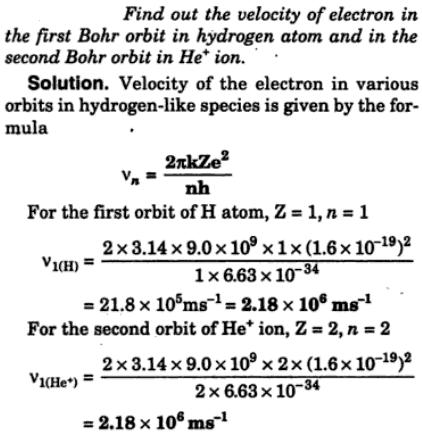 9 Find out velocity of electron in 1st Bohr orbit
