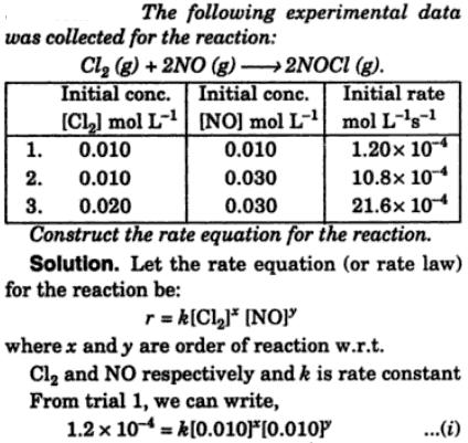 9 Following experimental data was collected